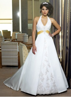 A-Line/Princess Halter Court Train Satin Wedding Dress With Lace Sash Beading Appliques Lace