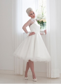 A-Line/Princess High Neck Knee-Length Satin Tulle Wedding Dress With Bow(s)