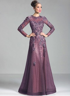 A-Line/Princess Scoop Neck Floor-Length Lace Mother of the Bride Dress With Appliques Lace