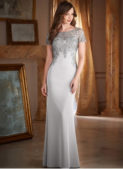 Sheath/Column Scoop Neck Sweep Train Satin Chiffon Mother of the Bride Dress With Beading