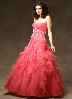 Ball-Gown Sweetheart Floor-Length Organza Satin Quinceanera Dress With Ruffle Beading