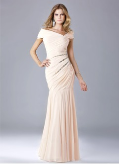 Trumpet/Mermaid Off-the-Shoulder Floor-Length Chiffon Evening Dress With Ruffle Beading