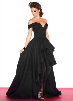 Ball-Gown Off-the-Shoulder Asymmetrical Lace Evening Dress
