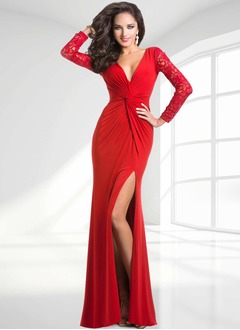 Sheath/Column V-neck Sweep Train Lace Jersey Evening Dress With Ruffle Split Front