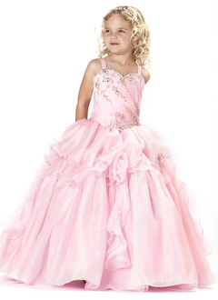 A-Line/Princess Sweetheart Floor-Length Organza Flower Girl Dress With Ruffle Beading