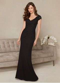 Sheath/Column V-neck Sweep Train Chiffon Tulle Evening Dress With Beading Appliques Lace