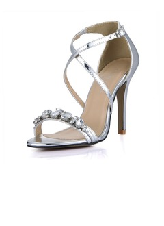 Patent Leather Stiletto Heel Sandals Peep Toe With Rhinestone  ...