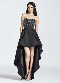A-Line/Princess Strapless Asymmetrical Satin Evening Dress With Beading