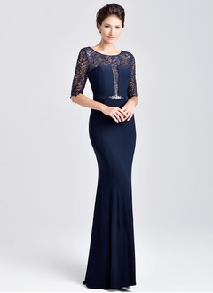 Trumpet/Mermaid Scoop Neck Floor-Length Chiffon Lace Mother of the Bride Dress With Lace Crystal Brooch
