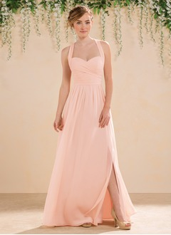A-Line/Princess Sweetheart Floor-Length Chiffon Bridesmaid Dress With Ruffle Split Front (0075094191)