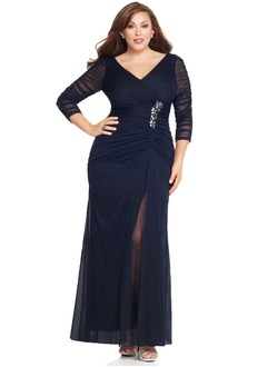 Sheath/Column V-neck Floor-Length Chiffon Tulle Mother of the Bride Dress With Ruffle Crystal Brooch