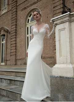 Sheath/Column V-neck Chapel Train Chiffon Wedding Dress With Lace