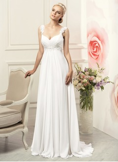 Empire Sweetheart Sweep Train Chiffon Wedding Dress With Beading Appliques Lace