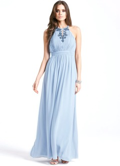 A-Line/Princess Halter Floor-Length Chiffon Cocktail Dress With Ruffle Beading