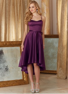 A-Line/Princess Sweetheart Asymmetrical Satin Prom Dress With Ruffle