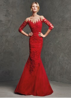 Trumpet/Mermaid Scoop Neck Floor-Length Tulle Charmeuse Evening Dress With Lace