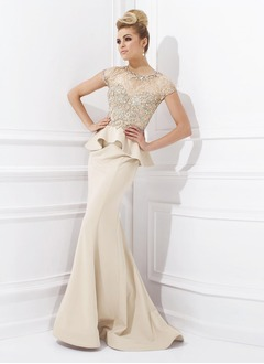 Trumpet/Mermaid Scoop Neck Sweep Train Satin Evening Dress With Lace Beading