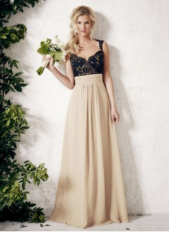 A-Line/Princess Sweetheart Floor-Length Chiffon Lace Bridesmaid Dress With Ruffle Appliques Lace (0075096722)
