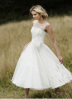 A-Line/Princess Scoop Neck Tea-Length Organza Satin Wedding Dress With Flower(s)