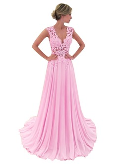A-Line/Princess V-neck Sweep Train Chiffon Prom Dress With Appliques Lace