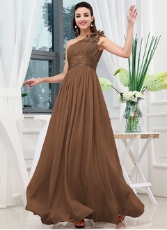 A-Line/Princess One-Shoulder Sweep Train Chiffon Evening Dress With Ruffle Flower(s)