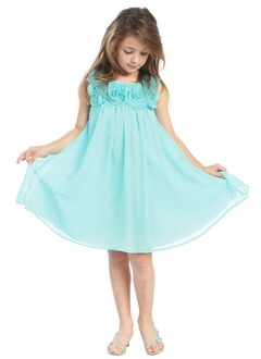 A-Line/Princess Scoop Neck Knee-Length Chiffon Flower Girl Dress With Ruffle Flower(s)