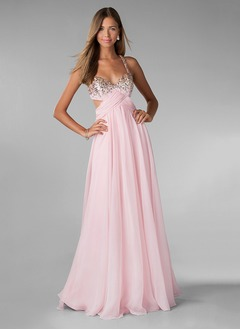 A-Line/Princess Sweetheart Floor-Length Chiffon Prom Dress  ...