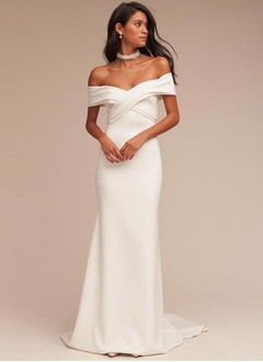 Trumpet/Mermaid Off-the-Shoulder Sweep Train Satin Wedding Dress With Ruffle