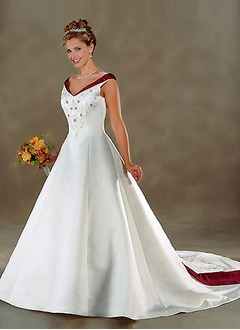 Ball-Gown Off-the-Shoulder Chapel Train Satin Wedding Dress With Embroidered Sash Beading Bow(s)
