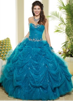 Ball-Gown Sweetheart Floor-Length Tulle Quinceanera Dress