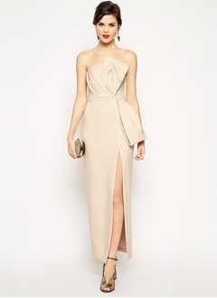 Sheath/Column Strapless Floor-Length Satin Evening Dress With Ruffle Split Front