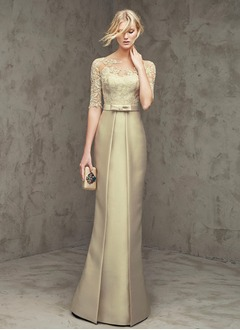 Sheath/Column Scoop Neck Floor-Length Satin Tulle Lace Evening Dress With Bow(s)