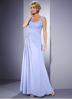 A-Line/Princess Sweetheart Floor-Length Chiffon Mother of the Bride Dress With Ruffle Beading Flower(s) Sequins