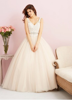 Ball-Gown V-neck Chapel Train Tulle Lace Wedding Dress With Beading