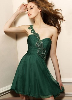 A-Line/Princess Sweetheart One-Shoulder Short/Mini Chiffon Evening Dress With Beading Appliques Lace