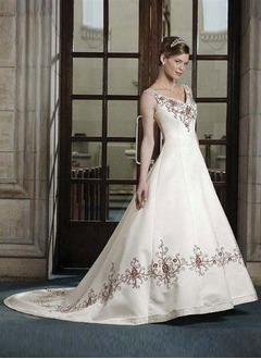 A-Line/Princess V-neck Court Train Satin Wedding Dress With Embroidered