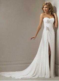 A-Line/Princess Sweetheart Chapel Train Chiffon Wedding Dress With Ruffle Beading Appliques Lace Sequins Split Front