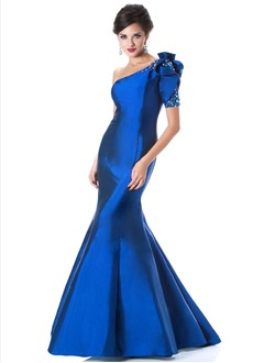 Trumpet/Mermaid One-Shoulder Floor-Length Taffeta Evening Dress With Beading
