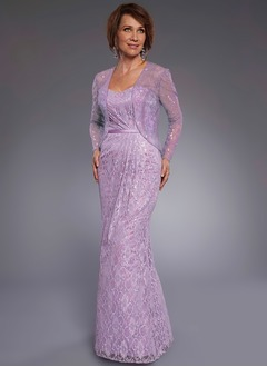 Sheath/Column Strapless Sweetheart Floor-Length Lace Mother of the Bride Dress With Lace Sequins