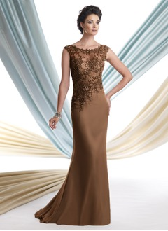 Trumpet/Mermaid Scoop Neck Sweep Train Chiffon Tulle Mother of the Bride Dress With Lace Beading Sequins