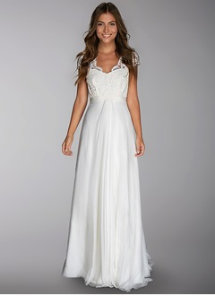 A-Line/Princess V-neck Court Train 30D Chiffon Wedding Dress With Ruffle Lace