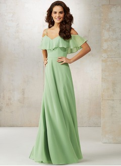 A-Line/Princess V-neck Floor-Length Chiffon Bridesmaid Dress With Cascading Ruffles (0075119422)