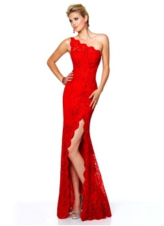 Sheath/Column One-Shoulder Sweep Train Lace Prom Dress With Beading Split Front