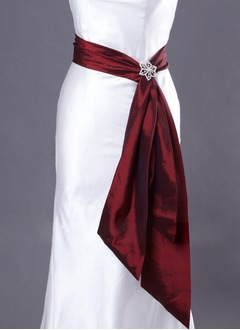 Taffeta Knee-Length With Beading Sashes
