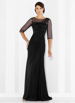 Sheath/Column Scoop Neck Sweep Train Chiffon Evening Dress With Ruffle Beading