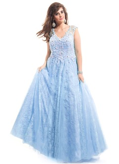 Ball-Gown V-neck Floor-Length Tulle Lace Prom Dress With Beading