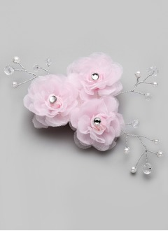 Rhinestone/Alloy/Imitation Pearls/Chiffon Headpiece