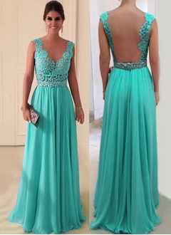 A-Line/Princess Scoop Neck Floor-Length Chiffon Lace Evening Dress With Ruffle Beading