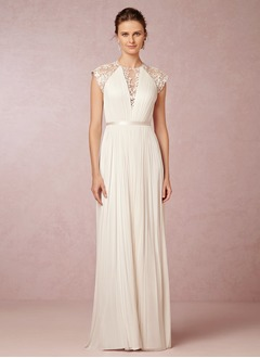 A-Line/Princess Scoop Neck Sweep Train Chiffon Tulle Wedding Dress With Lace