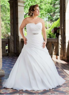 A-Line/Princess Strapless Sweetheart Chapel Train Organza Satin Wedding Dress With Ruffle Beading